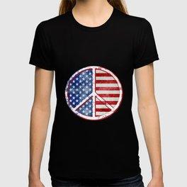 Watercolor Patriot Peace Symbol Stars and Stripes USA Flag T-shirt