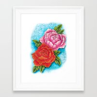 peonies Framed Art Prints featuring peonies by missfortunetattoo