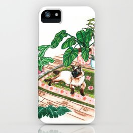 Lounging Siamese and Philodendrons iPhone Case