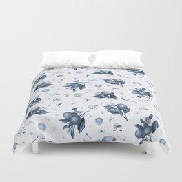 Porcelain Blue Butterflies and Citrus Duvet Cover