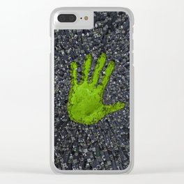 Carbon handprint / 3D render of modern city with handprint shaped park Clear iPhone Case