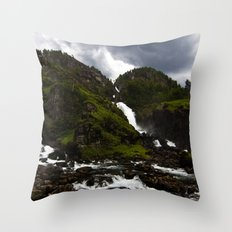 Norwegian Waterfalls Throw Pillow