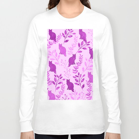 Watercolor Floral and Cat V Long Sleeve T-shirt