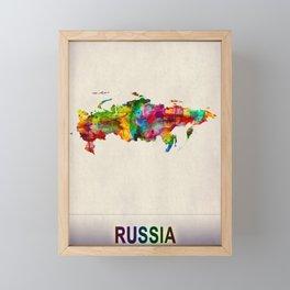 Russia Map in Watercolor Framed Mini Art Print