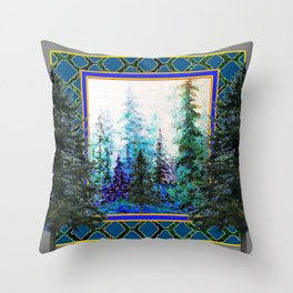 PINE TREES BLUE FOREST  LANDSCAPE TEAL PATTERN Throw Pillow