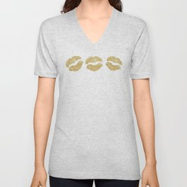 Gold Glitter Lips Unisex V-Neck