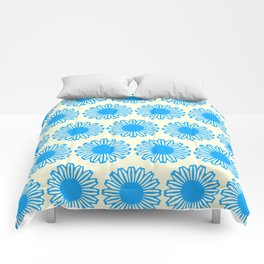 Vintage Flower_Turquoise Comforters