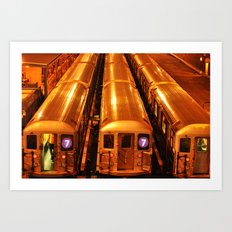 New York Queens Subway 7 Train Yard Art Print