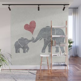 Elephant Hugs with Heart in Muted Gray and Red Wall Mural