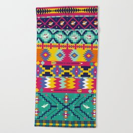 Seamless colorful aztec pattern with birds Beach Towel