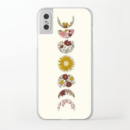 Floral Phases of the Moon Clear iPhone Case