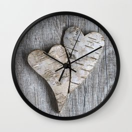 two wooden hearts love symbol Wall Clock