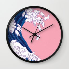 Llama Waves in Pink Wall Clock