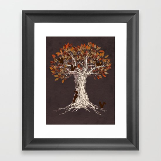 Little Visitors - Autumn tree illustration with squirrels Framed Art Print