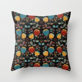 Vintage Ethno Flowers in red, blue, yellow on black Throw Pillow