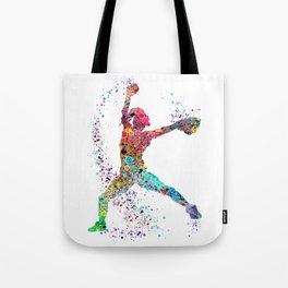 Baseball Softball Pitcher Watercolor Print Art Print Girl's Softball Painting Tote Bag