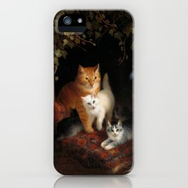 Mama Cat with Kittens iPhone Case
