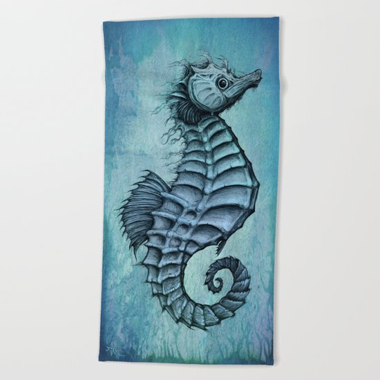 Seahorse II ~ Ink and Watercolor Beach Towel