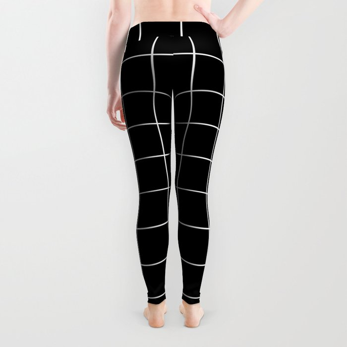 Grid Simple Line Black Minimalist Leggings