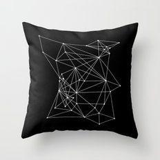 Black Geometric Dots and Lines Throw Pillow