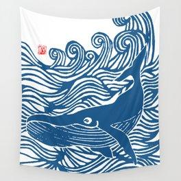 Japan Sea Whale Art Lino Wall Tapestry