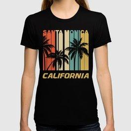 Retro Santa Monica California Palm Trees Vacation T-shirt