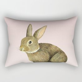 Rabbit on Pink Rectangular Pillow