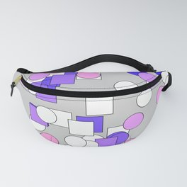 Multi-colored squares and circles blue and purple Fanny Pack