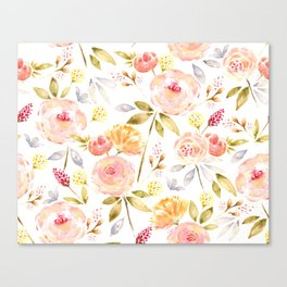 Acacia Vintage watercolored florals-White Canvas Print