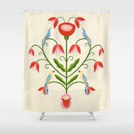 Hearty Bird's Songs - Folk Art Shower Curtain