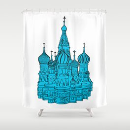 Moscow Kremlin illustration with colored backplate. Shower Curtain