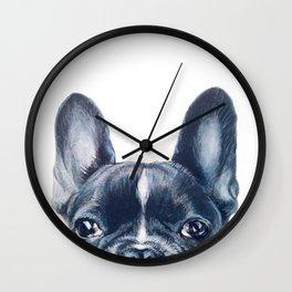 French Bull dog Dog illustration original painting print Wall Clock