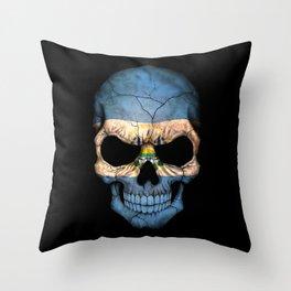 Dark Skull with Flag of El Salvador Throw Pillow