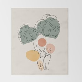 Cat and Plant 36 Throw Blanket