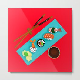 Sushi art // Sushi, chopsticks, and soy sauce // Digital sushi Metal Print