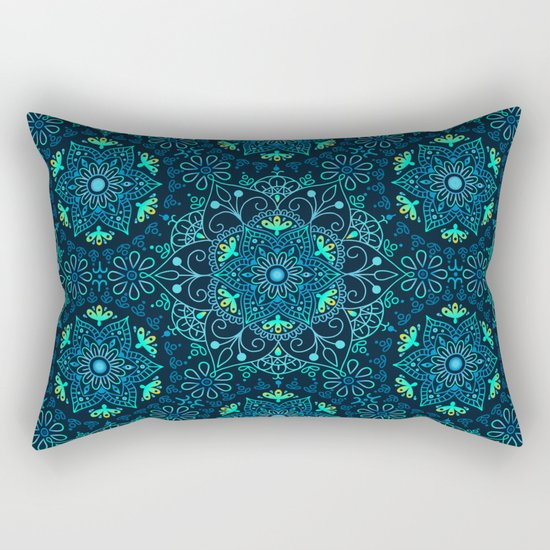 Mandala_Cerulean Rectangular Pillow