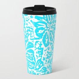 Marigold Lino Cut, Turquoise Travel Mug