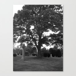 tree and grave Canvas Print