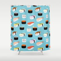 sushi Shower Curtains featuring Sushi! by Sara Showalter