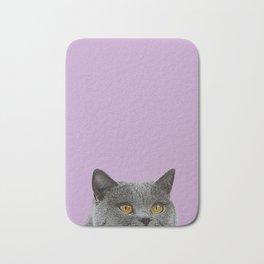 Lavender Home Decor Lilac Decoration British Short haired Cat Bag Pastel Colors Bath Mat