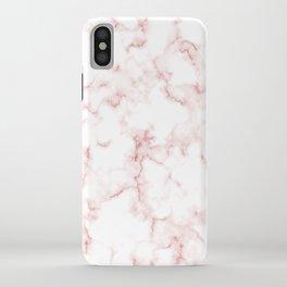 Pink Rose Gold Marble Natural Stone Gold Metallic Veining White Quartz iPhone Case