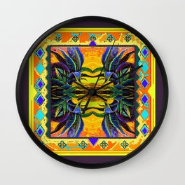 Tropical Beauty In Egg Plant Purple & Yellow Colors Wall Clock