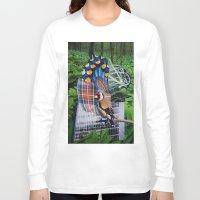 plaid Long Sleeve T-shirts featuring Plaid Bird by John Turck