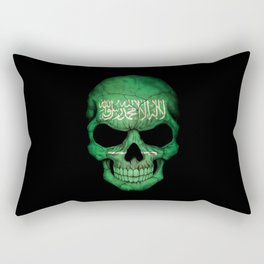 Dark Skull with Flag of Saudi Arabia Rectangular Pillow