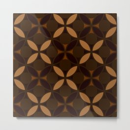 Geometric Floral Circles In Browns & Orange Metal Print