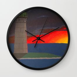 A Lighthouse Sunset Wall Clock