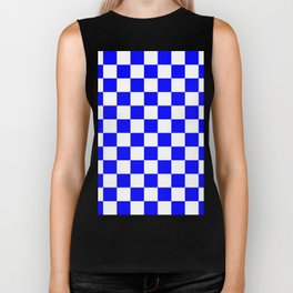 Checkered - White and Blue Biker Tank