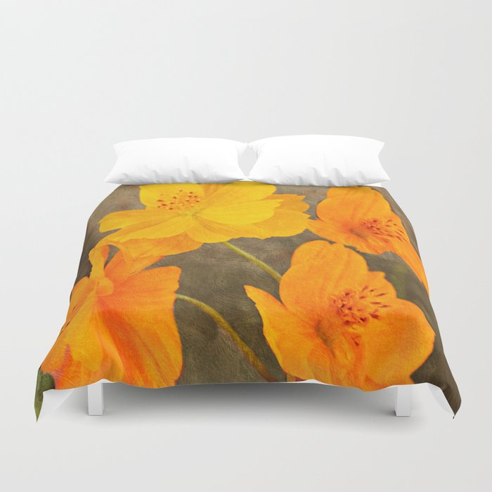 Bright Lights Cosmos Flowers Duvet Cover