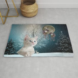 White Cat and Reindeers Rug