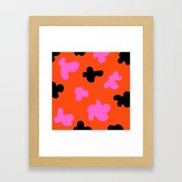 Grell 003 / A Dazzling 70's Pattern Of Black & Pink Spots Framed Art Print